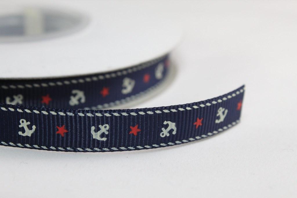 Ripsband 10mm, Anker blau
