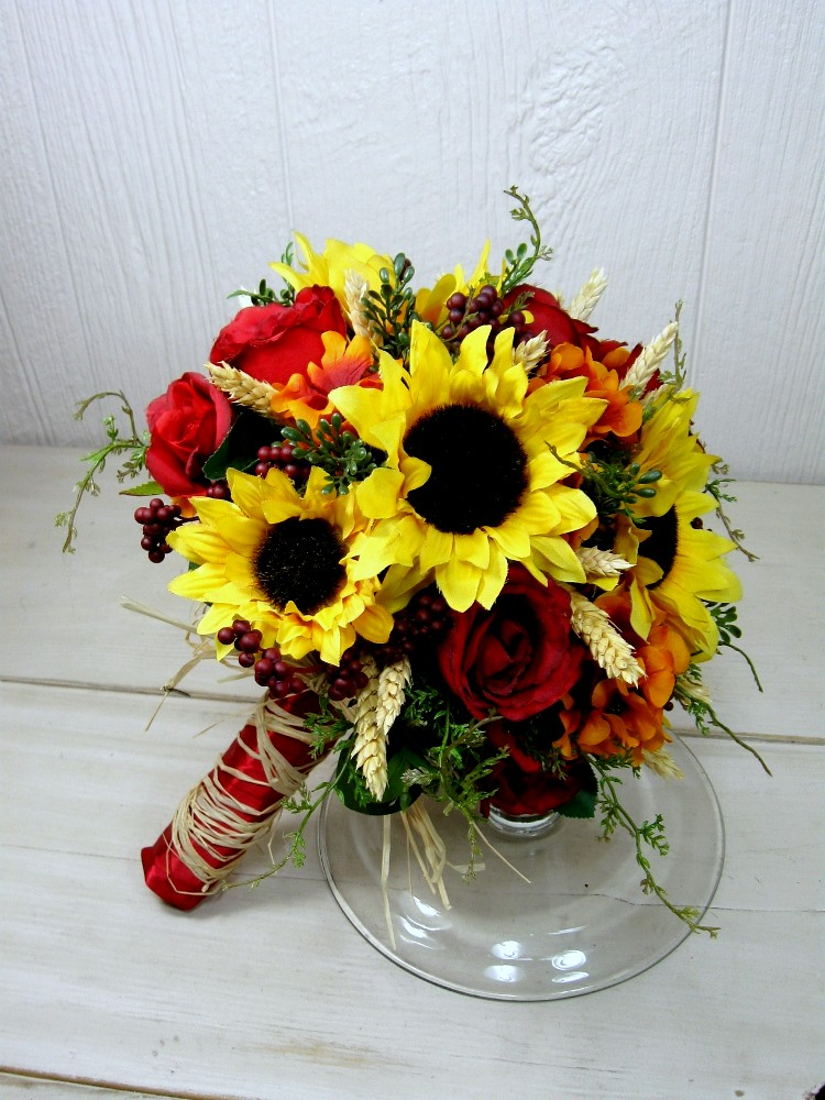 Fall Bridal Bouquets With Sunflowers Fall Sunflower Wheat Bridal