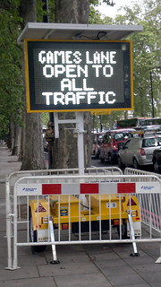 5th July 2012 Games lane open to all traffic white Led sign Embankment London 5th July 2012 12:25.22pm | by dennoir