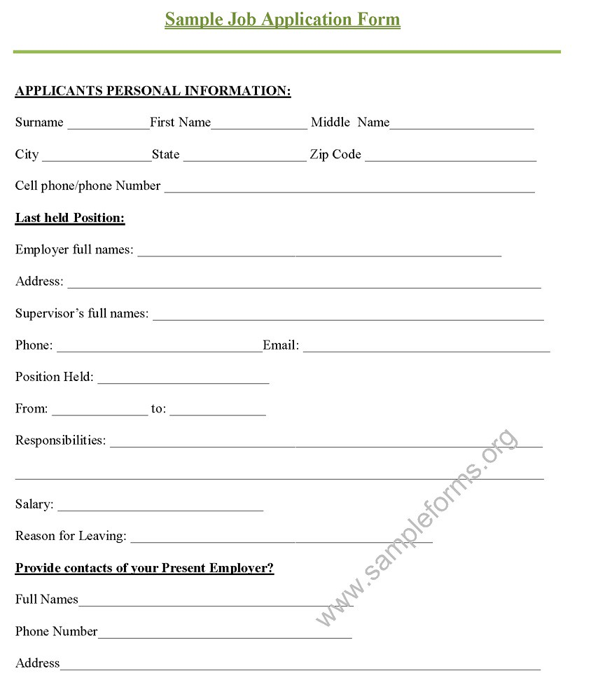 Sample Job Application Form | For more sample application fo… | Flickr
