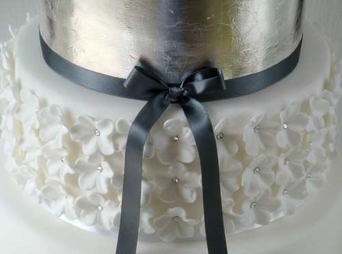 Silver Leaf and Blossom Wedding Cake | by The Clever Little Cupcake Company