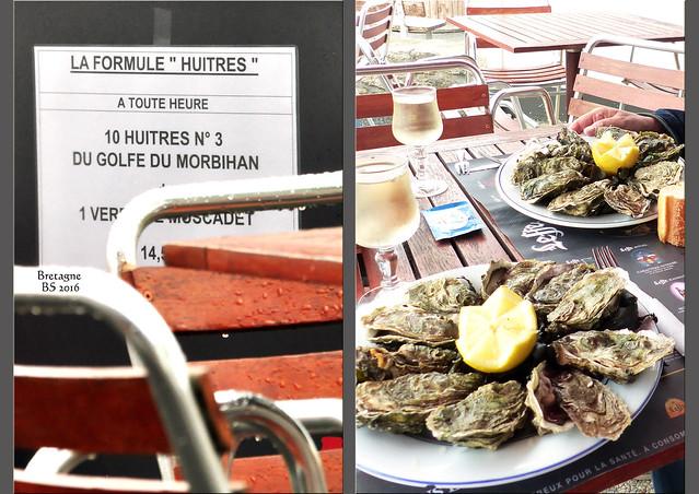 10 Austern (Huîtres) N° 3 direkt aus dem Golf von Morbihan, Brot, Butter und dazu 1 Glas Muscadet für 14,50 EUR. Wir sitzen in Port Navolo direkt mit Blick auf den Golf. Mittlerweile ist Regen aufgekommen, aber unter der großen Markise könnten wir unsere Austern geschützt genießen. Danach noch ein kleiner Kaffee - was will man mehr am Meer? - Fotos und Collagen: Brigitte Stolle 2016