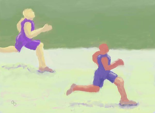 My Original Color Sports Painting, Runners | by Art by Arlene Babad