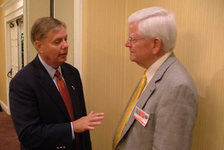 Sen. Graham speaks with East Cooper Republican Club Vice President Jim Davis. | by LindseyGraham.com