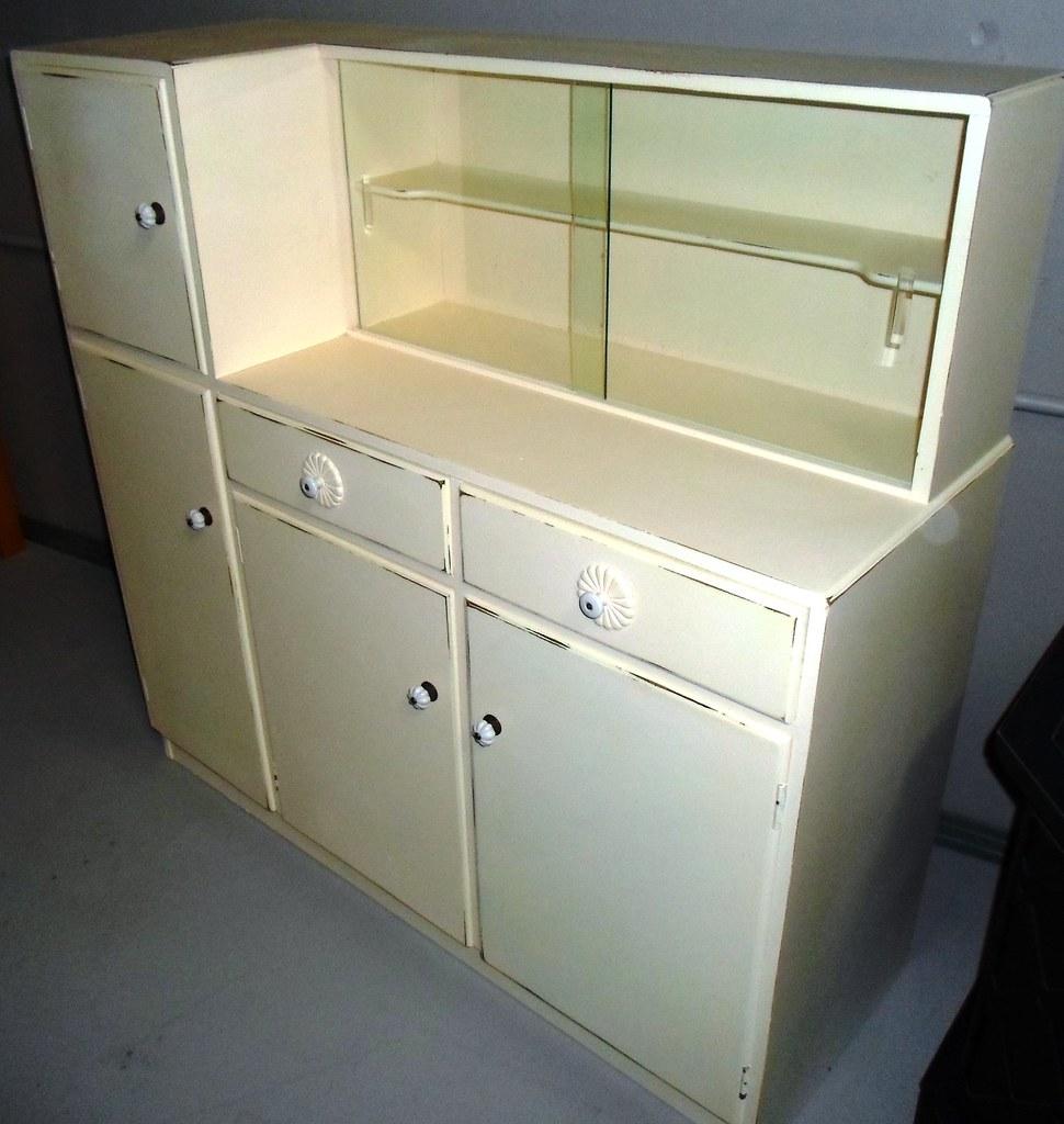 Sold vintage storage cabinet vintage kitchen storage for Buttercream kitchen cabinets