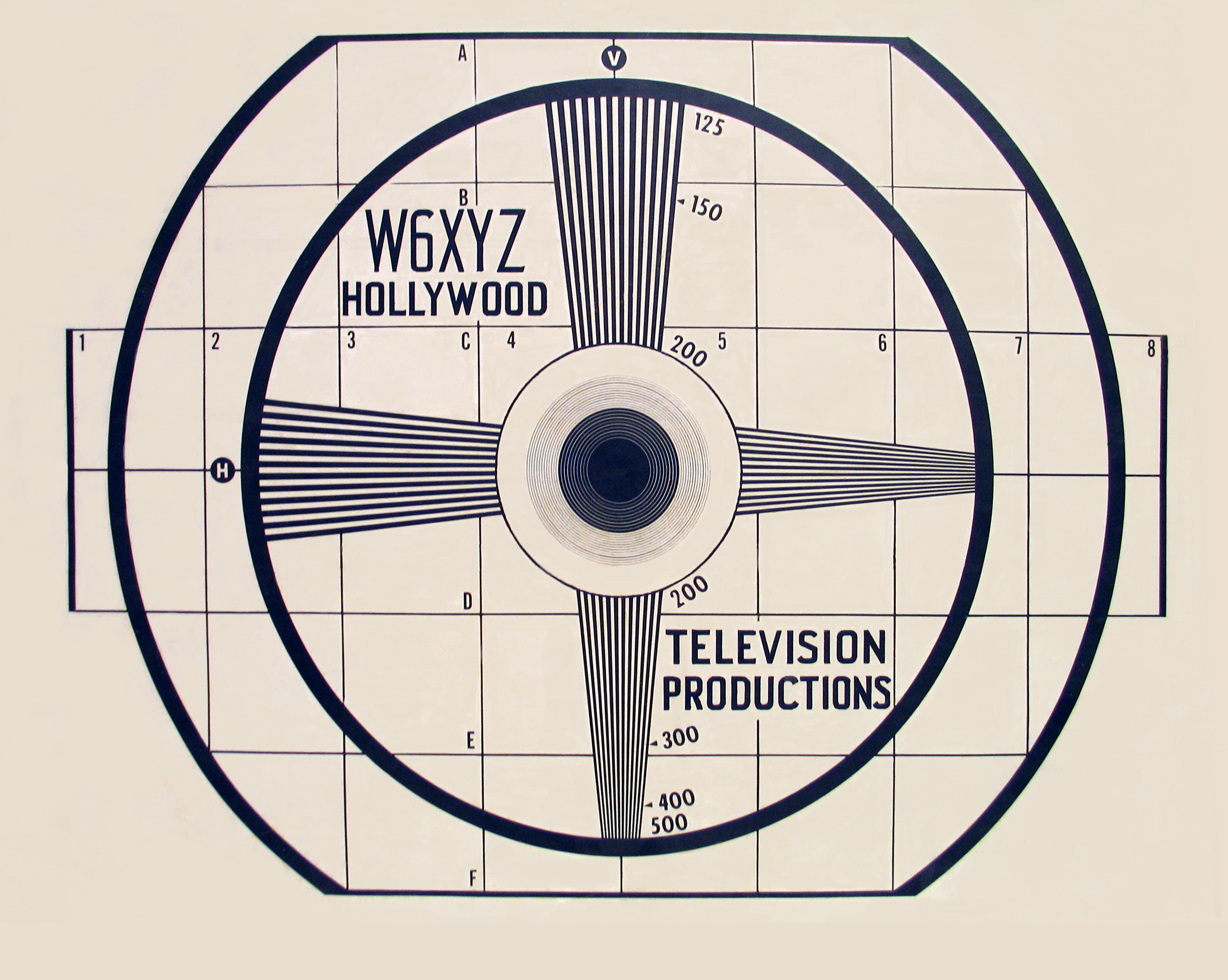 W6XYZ (KTLA) test pattern - 1940s