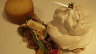 "Black fig and raspberry ""Baked Alaska"", almond and orange 