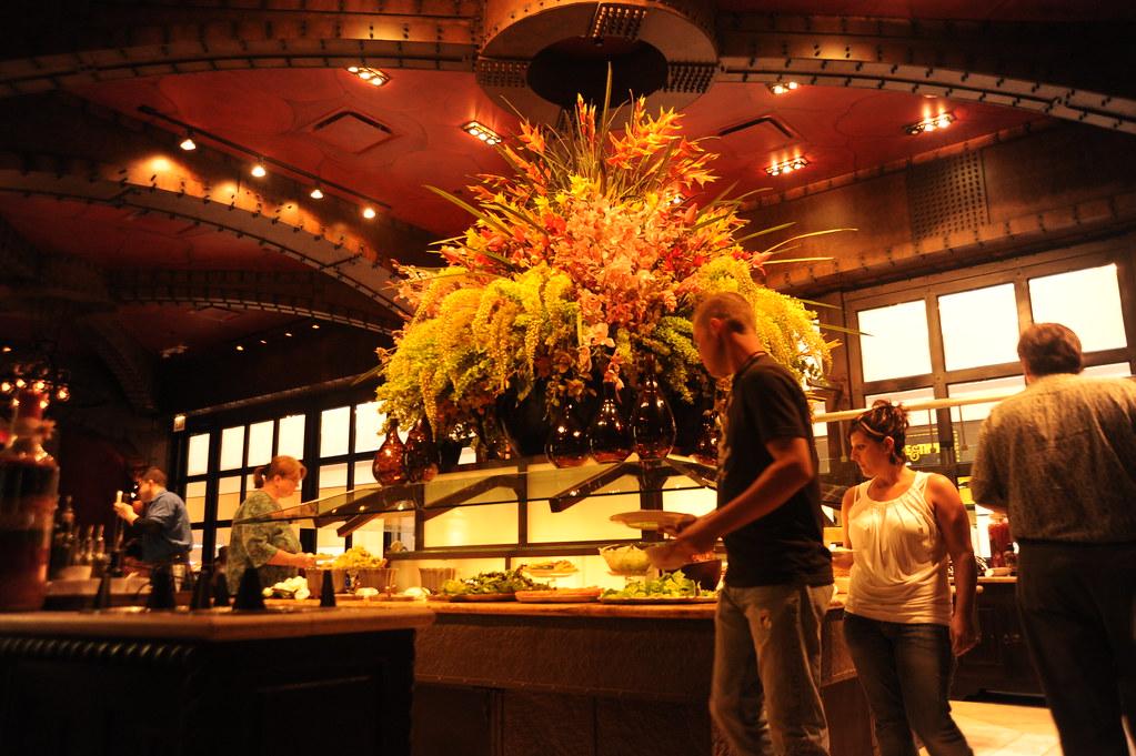 Salad bar flower arrangement interior decor food lighti