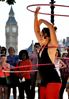 Miss Polly Hoops and Big Ben performing together, South Bank, London | by MJ Reilly