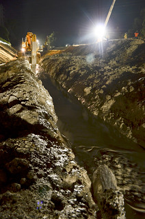 Seepage cutoff wall nighttime construction along the American River | by USACE-Sacramento District