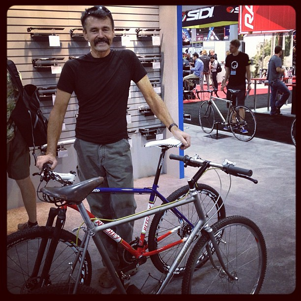 Tom Ritchey With His 1977 And 2012 650b Wheel Size Mountai
