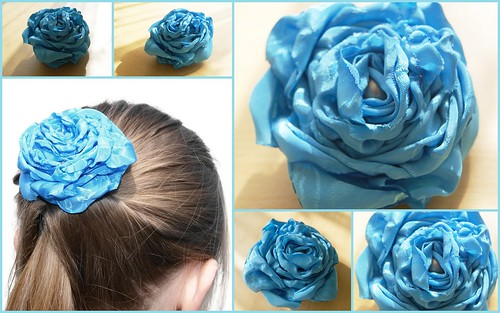 Silk Hair Flower Clip Blue | by UpcycledDelights