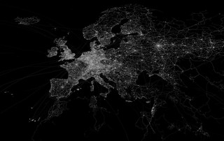 OpenStreetMap GPS trace density in and near Europe | by Eric Fischer