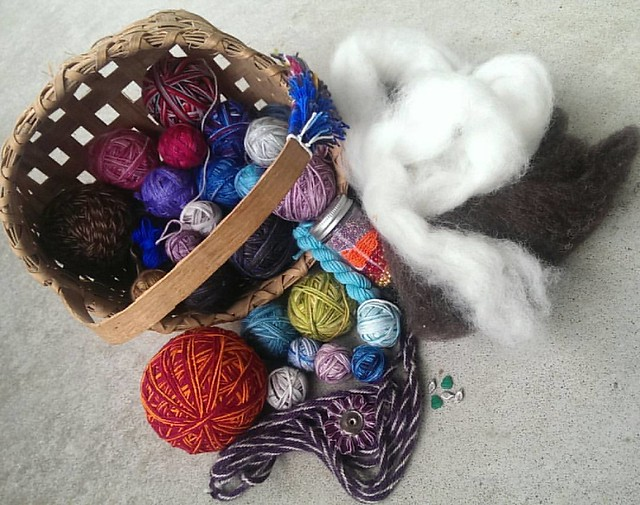Day 4 of the #ctmonthinthelife #igchallenge  is #rawmaterials   Obviously I can't show off *everything* I work with, but you'll get the idea with the main items- various #handdyed #yarns , #beads , #roving , even a #kumihimo cord with the gorgeous #handma
