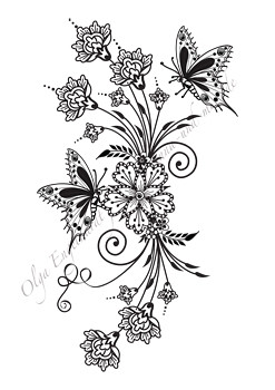 mehndi henna design 23 bouquet with butterflies this. Black Bedroom Furniture Sets. Home Design Ideas