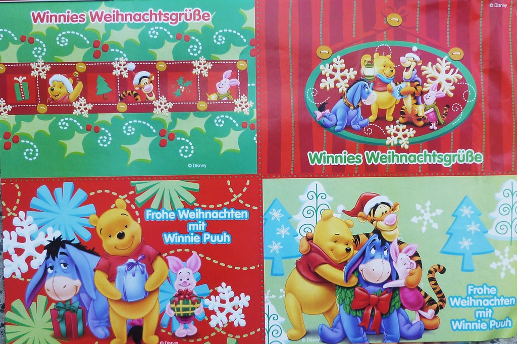 4x weihnachtspostkarten winnie puuh mit tigger piglet i flickr. Black Bedroom Furniture Sets. Home Design Ideas