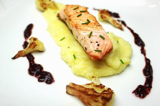 seared salmon with cauliflower mash and purple basil pesto | by SeppySills