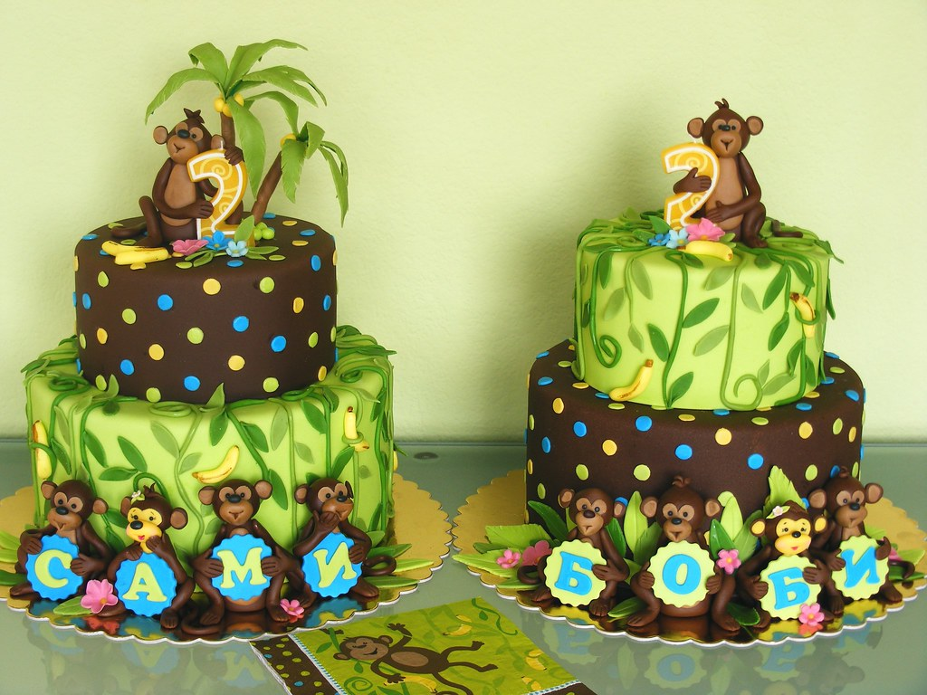 Twin Monkey Baby Shower Cakes