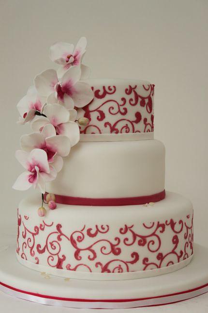 Hochzeitstorte pink weiß mit Orchideen Swirls  Hochzeitst ...