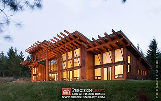 Exterior of this Custom Timber Frame Home | Located in Cle Elum, Washington | by PrecisionCraft Log & Timber Homes