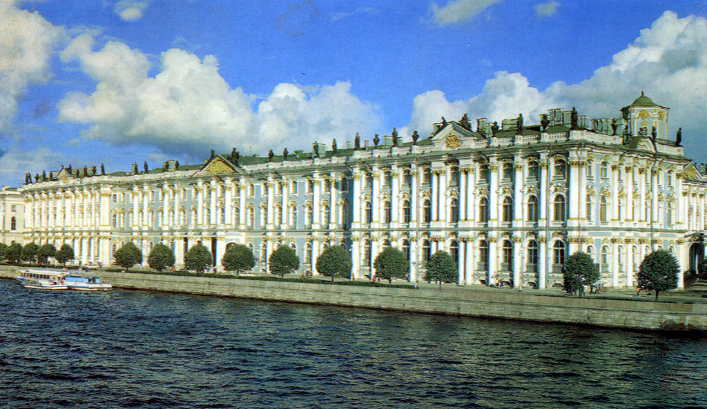 st petersburg winter palace and neva river postcard. Black Bedroom Furniture Sets. Home Design Ideas