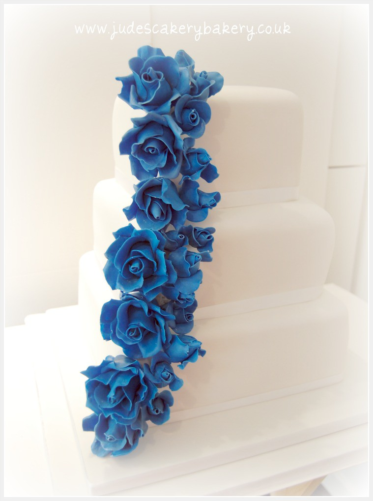 3 Tier Square Wedding Cake With Royal Blue Roses 3 Tier