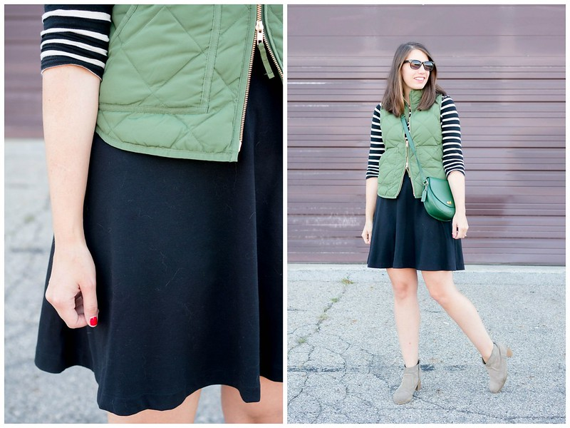 black and white stripe tee + green J.Crew vest + black Old Navy skirt + target ankle boots + green coach purse; casual fall outfit Style On Target blog