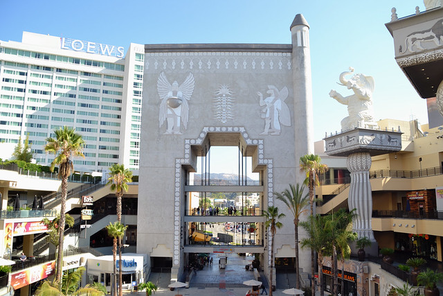 Hollywood & Highland center is a colosseum type shopping center with a large open space in the middle. The center is a tourist attraction because it is located in the heart of Hollywood close to other attractions like the TCL Chinese Theatre, Madame Tussauds, and the El Capitan Theatre/5().