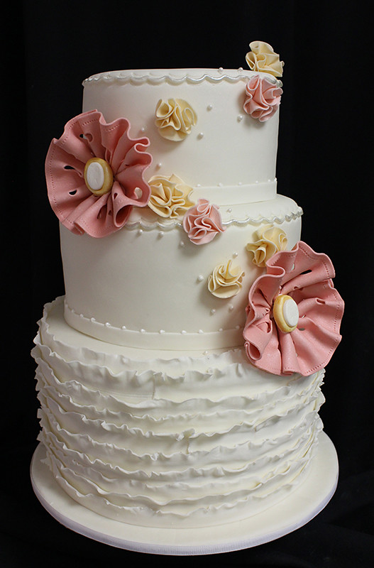 small wedding cakes with roses small ruffles and fabric flowers wedding cake fabric 20247