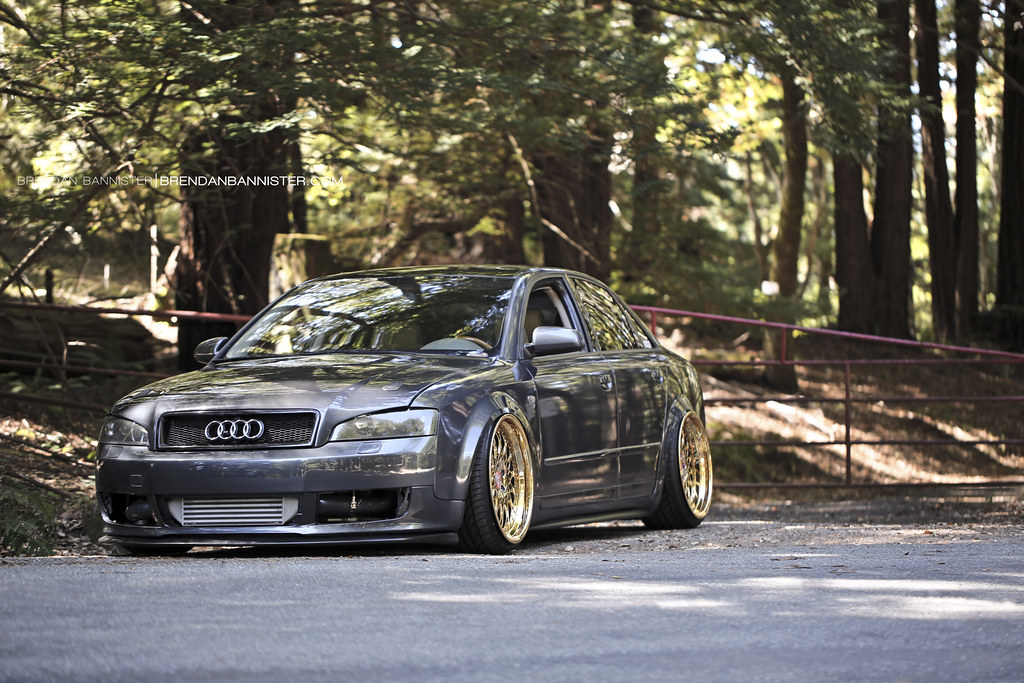 Bagged And Boosted Audi A4 On 24kt Gold Wheels Photo By