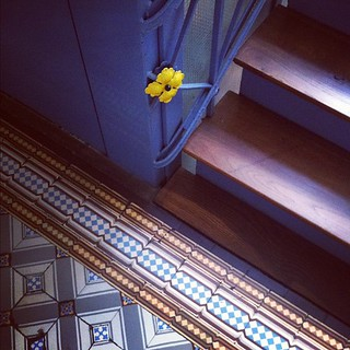 Love the yellow iron flowers going up the stairs | by decor8
