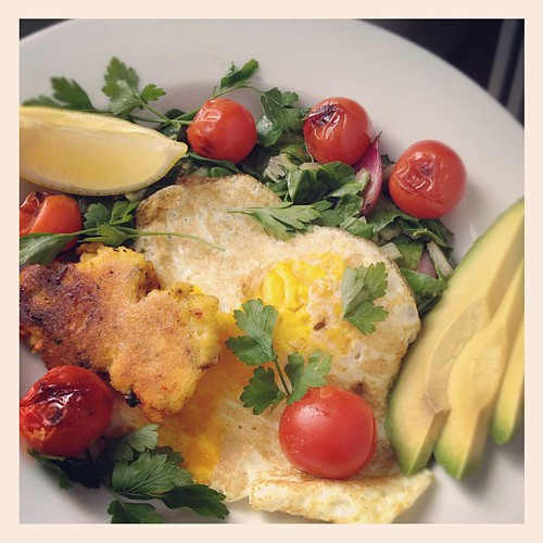 Fried egg, polenta, swiss chard, roast tomato, avocado. #lunch | by monica.shaw