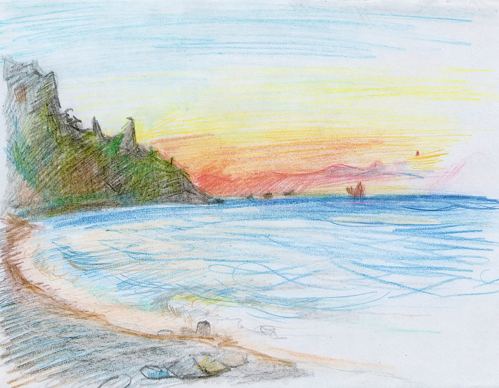 Sea pencil sketch | Sea; Doodle; sketch; seaside; beach ...