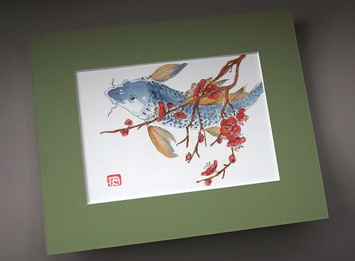 Chinese carp under red flowers carpe chinoise et branche for Carpe chinoise prix