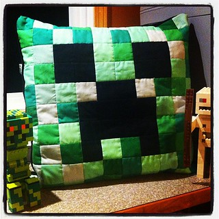 Minecraft Creeper pillow which I crafted today.  sssssssSSSSS.....BOOM. | by CoraQuilts~Carla
