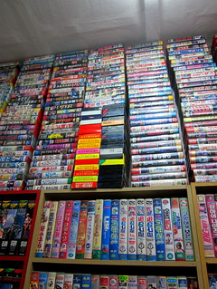 "Seoul Korea flea market area old Economy Video store stacks of cool VHS tapes - ""Packed to the Rafters"" 