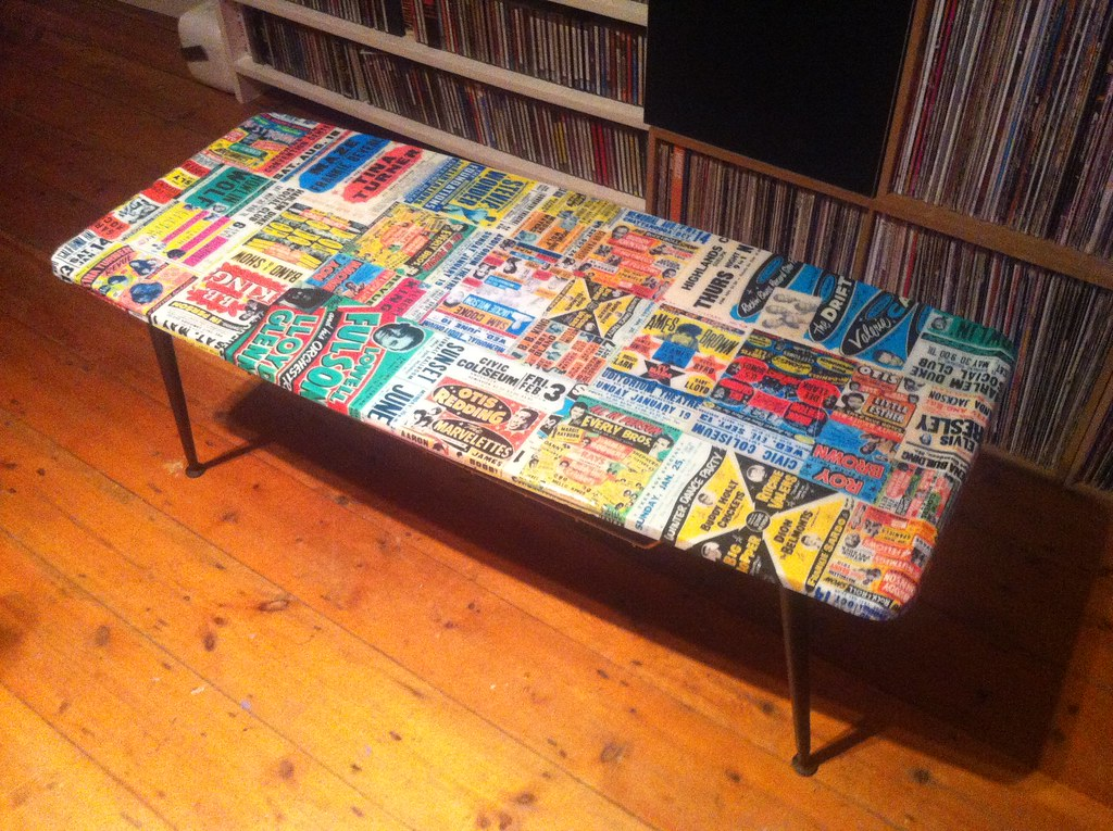 decoupage furniture rock and roll coffee table 11 flickr
