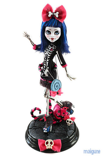 "Monster High CAM Skeleton Girl ""Sweet Halloween"" OOAK Edition with Stand 