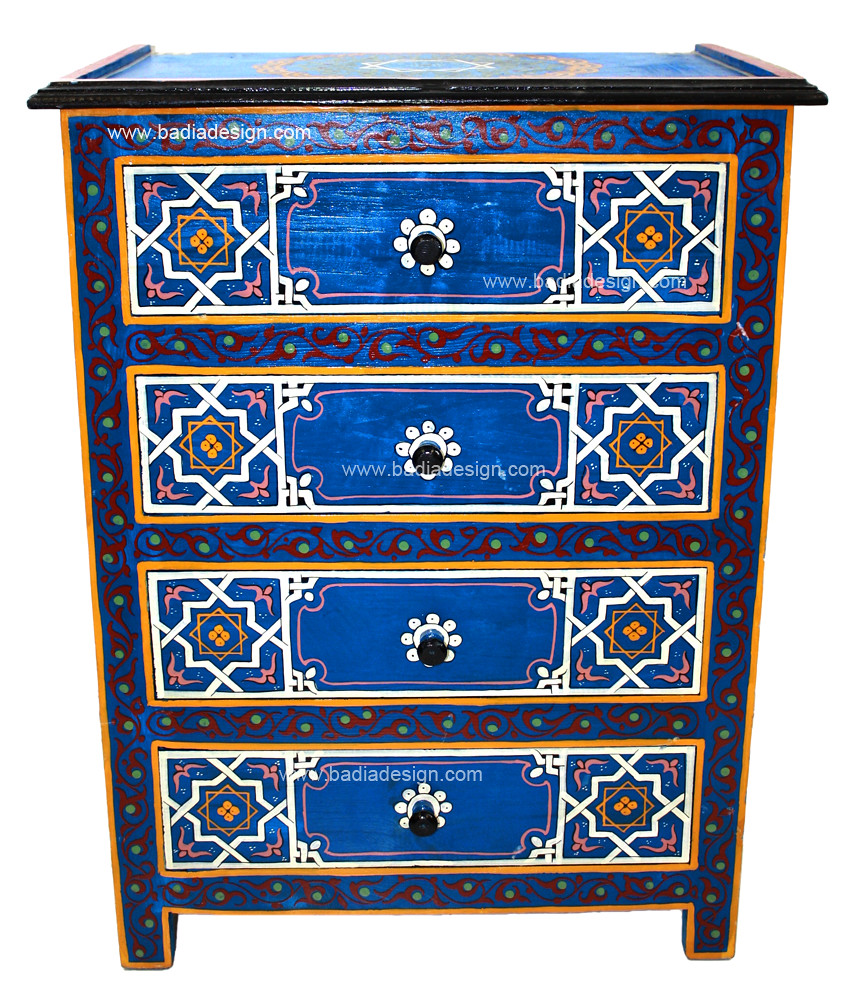 Moroccan hand painted dresser this is a beautiful for Moroccan hand painted furniture
