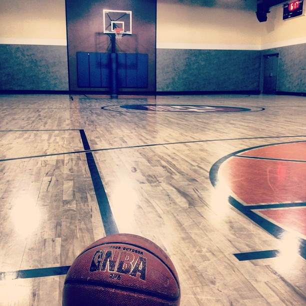 Indoor basketball court at 24 Hour Fitness was completely empty both    Empty Indoor Basketball Court