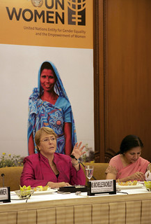 UN Women Executive Director Michelle Bachelet briefs members of the press in new New Delhi on her first official visit to India as head of the agency. | by UN Women Gallery