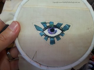 All Seeing Eye hand embroidered miniature WIP | by MotherEagle