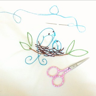 bird stitching- my very first embroidery project. | by pinksuedeshoe