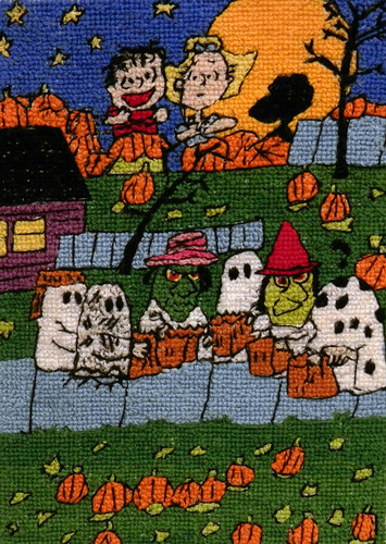 """It's The Great Pumpkin Charlie Brown"" Original Hand Drawn Cross Stitch 
