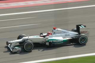 Michael Schumacher flying down the main straight at Monza | by www.davidbaxendale.com