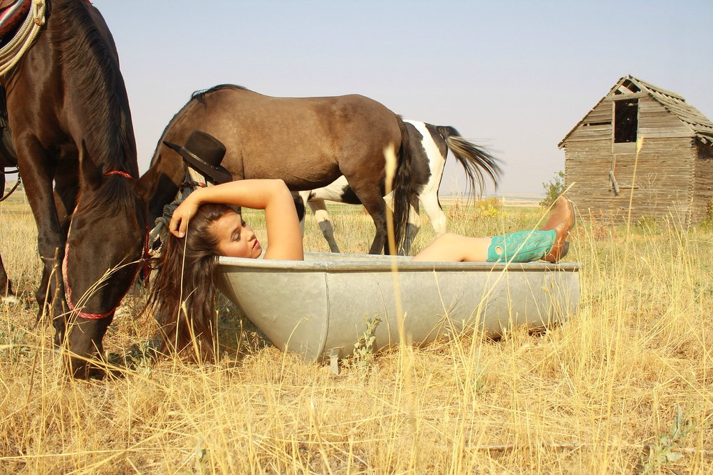 Cowgirl Bath  Model Noxzee With Horses , Comments Welcom -6785
