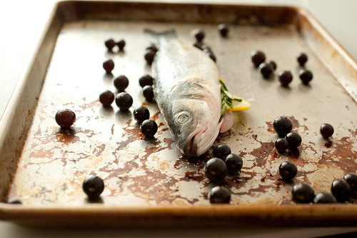 branzino with roasted grapes | by sassyradish
