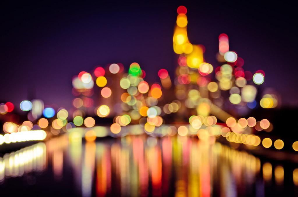 Frankfurt bokeh lights another shot from taken the - Night light city wallpaper ...