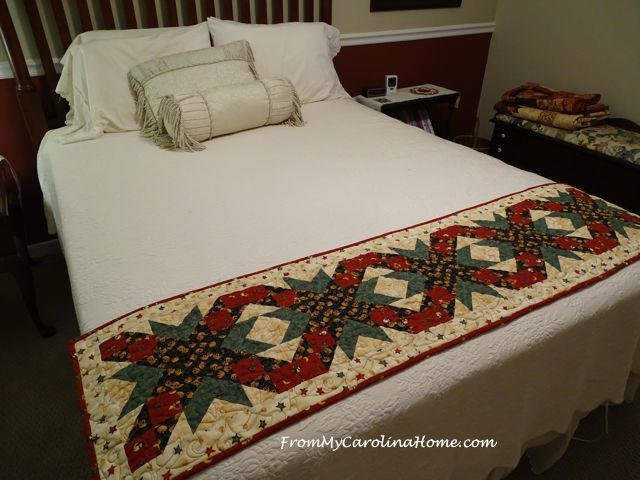 Christmas Table runner used as a bed scarf | From My Carolina Home
