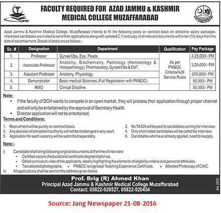 Azad Jammu and Kashmir Medical College Jobs